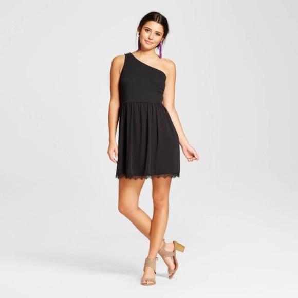 Xhilaration Dresses & Skirts - Womens Black One Shoulder Fit Flare Dress  L